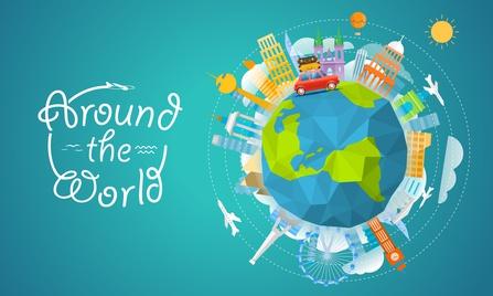 """LCHF-Tellerspione KW 30 – 2016 - Gezeichnete Weltkugel mit der Aufschrift """"Around the world"""""""