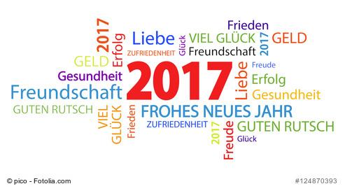Das neue Jahr - Schlagwörterwolke mit guten Wünschen