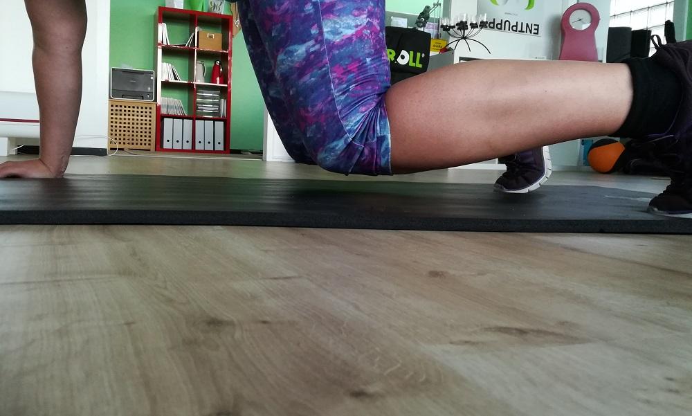 Selbsttest Kraft - angehobene Knie im Vierfüßlerstand im Detail