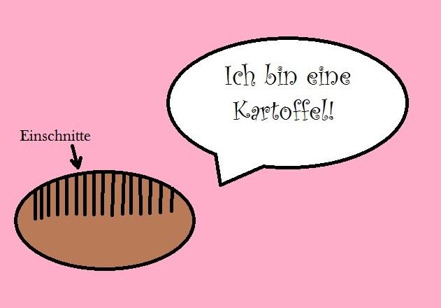 LCHF-Tellerspione KW 34 – 2017 - Zeichnung einer Kartoffel Hasselback