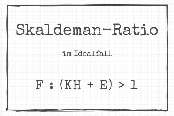 Zeichnung der Skaldeman-Ratio als Formel, angelehnt an Skaldeman